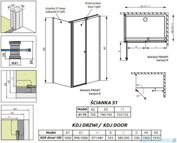 Radaway Eos II Kds kabina prysznicowa 100x75cm prawa szkło przejrzyste 3799482-01R/3799409-01L