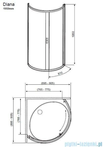 Radaway Diana Kabina półokrągła 90x90 szkło przejrzyste + brodzik Patmos B 90 + syfon 30302-01-01