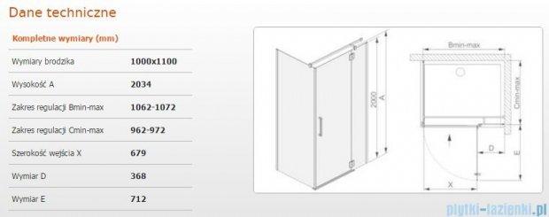 Sanplast kabina narożna prostokątna prawa przejrzysta  KNDJ2P/AVIV-100x110 100x110x203 cm 600-084-0320-42-401