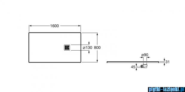Roca Terran 160x80cm brodzik prostokątny konglomeratowy szary cementowy AP0164032001300