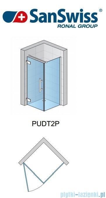 SanSwiss Pur PUDT2P Ścianka boczna 70cm profil chrom szkło przejrzyste PUDT2P0701007