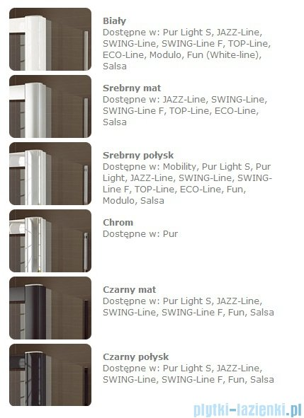 SanSwiss Swing Line SLT2 Ścianka boczna 90cm profil srebrny SLT209000107