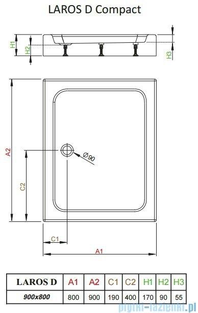 Radaway Brodzik prostokątny Laros D 90x80x17 cm z obudową SLD8917-01