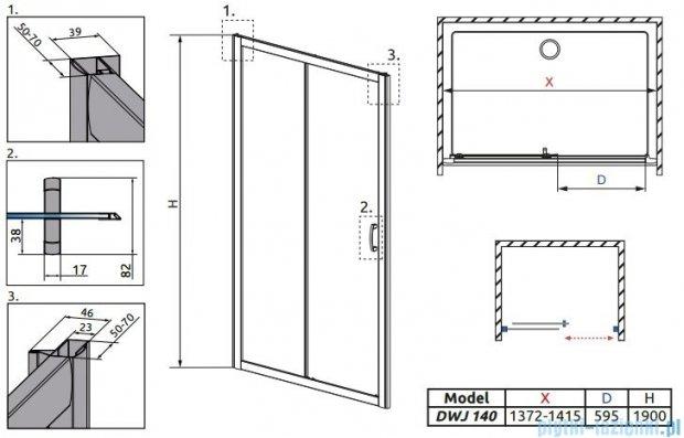 Radaway Premium Plus Dwj drzwi wnękowe 140cm szkło fabric 33323-01-06N