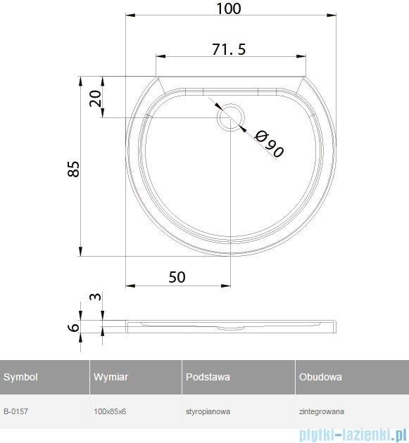 New Trendy Rondo Ultra brodzik przyścienny posadzkowy na podstawie styropianowej 100x85 B-0157