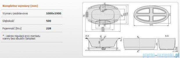 Sanplast Altus Wanna owalna+obudowa+stelaż+reling+zagłówek WOW-lx-kpl-ALT/EX 190x100+SP, 610-120-1460-01-000