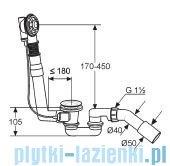 Kludi Rotexa 2000 Zestaw odpływowo-przelewowy G1 1/2 chrom 2104000-00