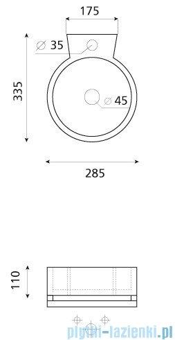 Bathco umywalka podwieszana z relingiem Sherry 28,5x33,5 cm 4905