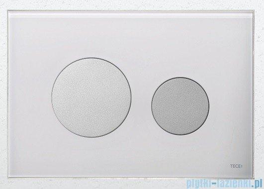 Tece Przycisk spłukujący ze szkła do WC Teceloop szkło białe przyciski chrom matowy 9.240.659