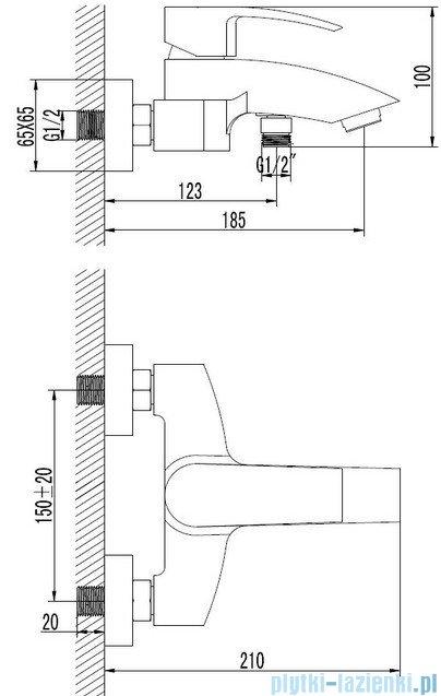 Omnires Murray bateria wannowa chrom MU6130