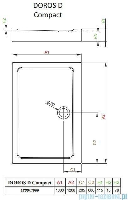 Radaway Doros D Compact brodzik prostokątny 120x100x11,5cm SDRD1210-05