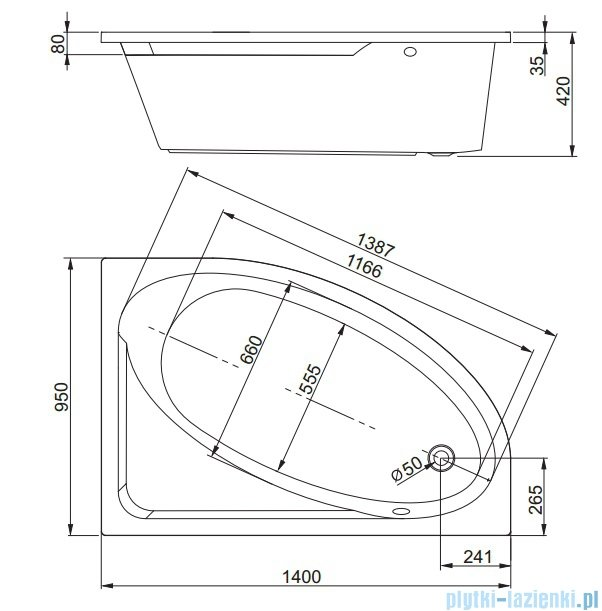 Aquaform Tinos wanna asymetryczna 140x95cm prawa 05120