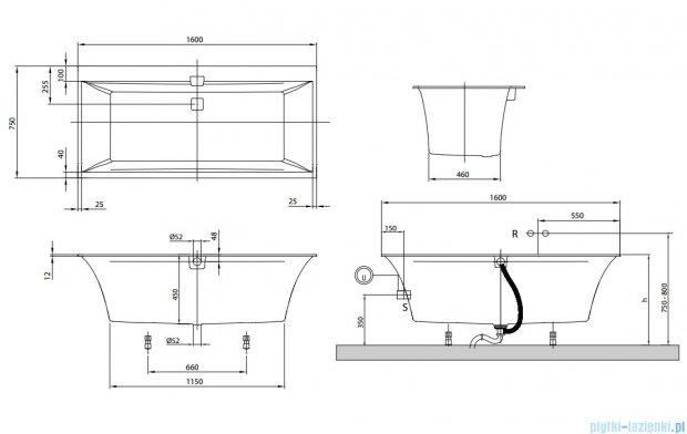 Villeroy&Boch Squaro Edge 12 160x75 cm prostokątna   UBQ160SQE2DV-01