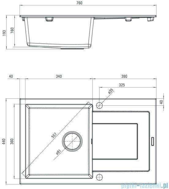 Deante Funk zlewozmywak 1-komorowy z ociekaczem 76x44 cm grafitowy ZQQ 2113