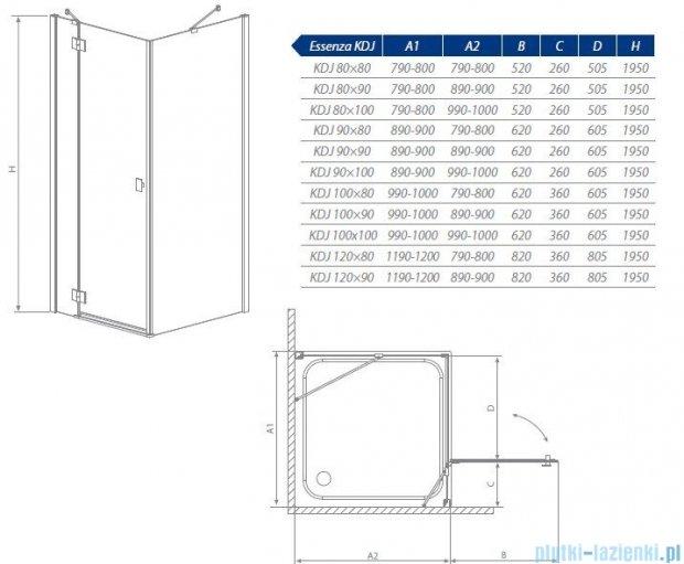 Radaway Essenza KDJ kabina 120x80 prawa szkło przejrzyste 32832-01-01NR