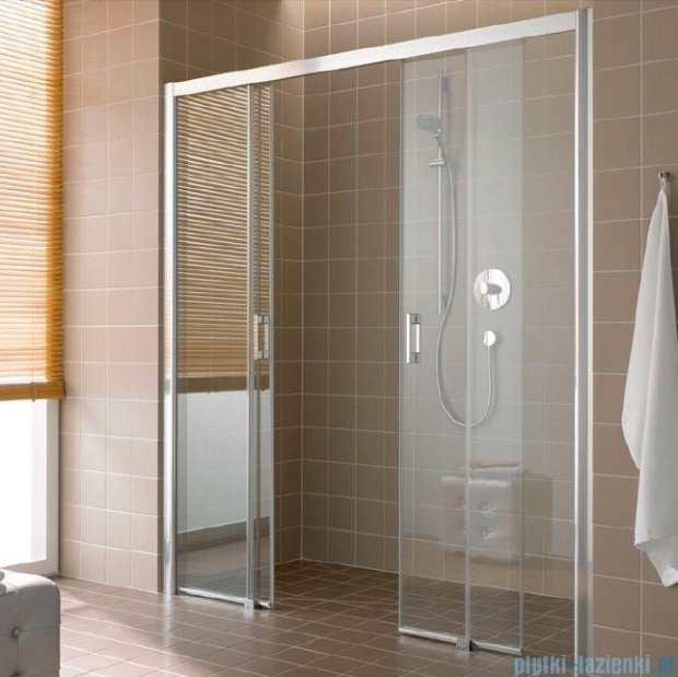 Kermi Atea Drzwi przesuwne bez progu, 4-częściowe, szkło przezroczyste, profile srebrne 160x200 ATD4B16020VAK