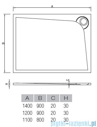 Vayer Bumerang 120x90cm Brodzik prostokątny z konglomeratu marmurowego lewy