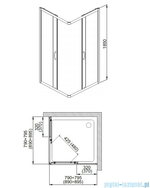 Aquaform Nigra Kabina prysznicowa kwadratowa 90x90x185cm chrom szkło przejrzyste 101-092111P