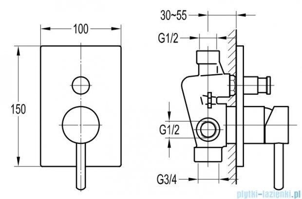Omnires Y bateria natryskowa-wannowa podtynkowa z przełącznikiem chrom Y1235/K