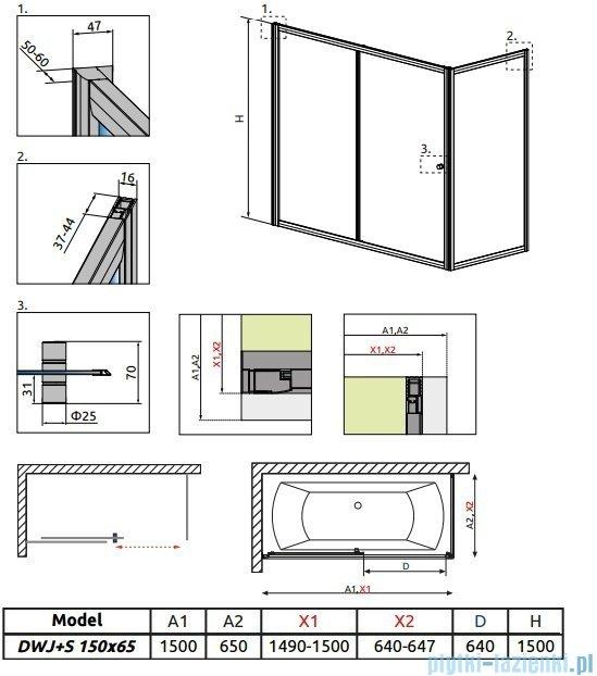 Radaway Vesta Dwj+s parawan nawannowy 150x65cm szkło fabric 209115-01-06/204065-06