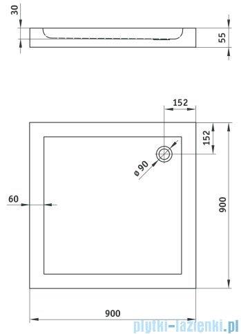 Deante Minimal brodzik Kwadratowy 90x90cm KTN 041B