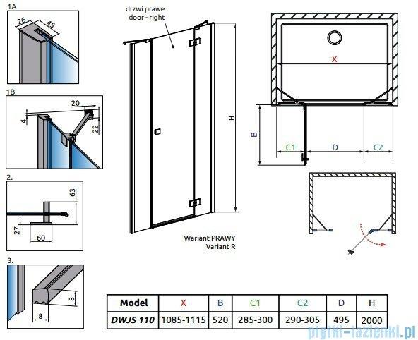 Radaway Essenza New DWJS drzwi wnękowe 110cm prawe szkło przejrzyste 385030-01-01R/384090-01-01