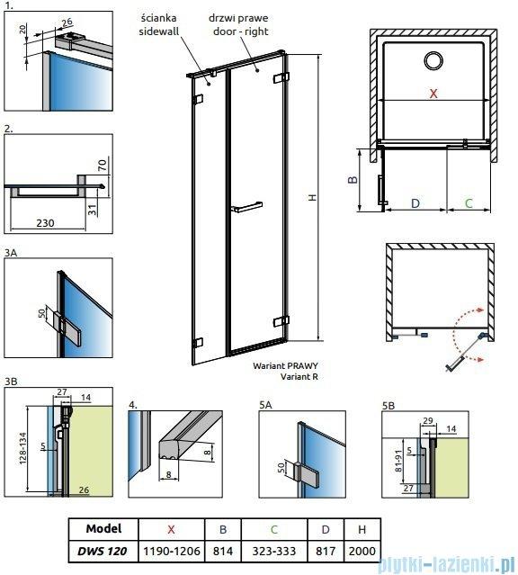 Radaway Arta Dws drzwi wnękowe 120cm prawe szkło przejrzyste 386828-03-01R/386091-03-01R