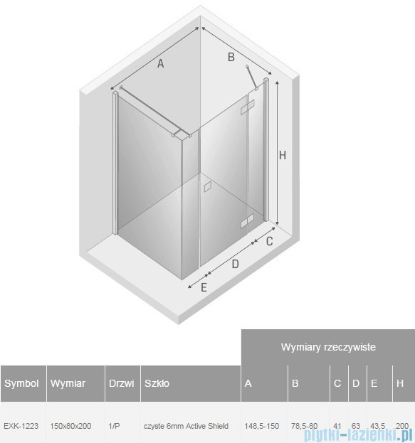 New Trendy Reflexa Plus 150x80x200 cm kabina prostokątna prawa przejrzyste EXK-1223