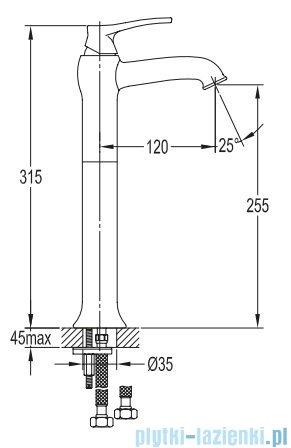 Omnires Art Deco bateria umywalkowa wysoka brąz antyczny AD5112/1BR