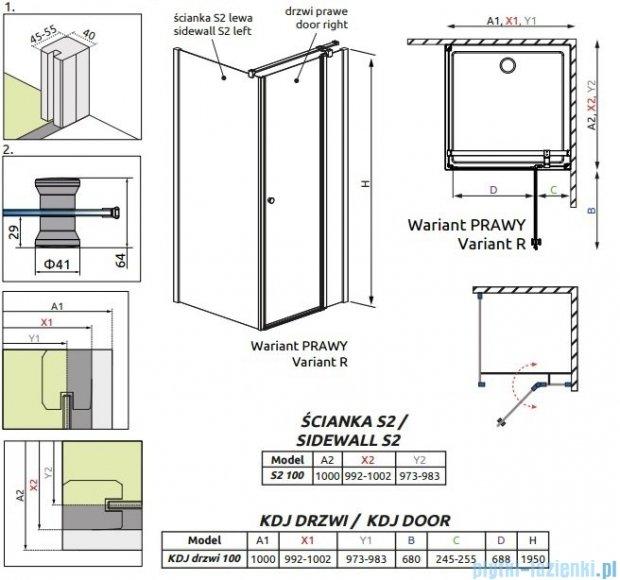Radaway Eos II KDJ kabina prysznicowa 100x100 prawa szkło przejrzyste 3799422-01R/3799432-01L