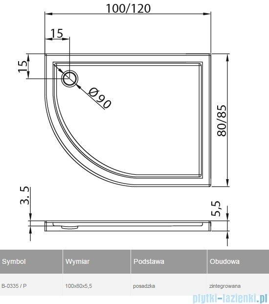 New Trendy Maxima Ultra brodzik asymetryczny posadzkowy prawy 100x80x6cm B-0335/P