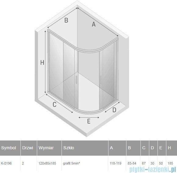 New Trendy Varia kabina asymetryczna 120x85x185cm szkło grafit K-0196