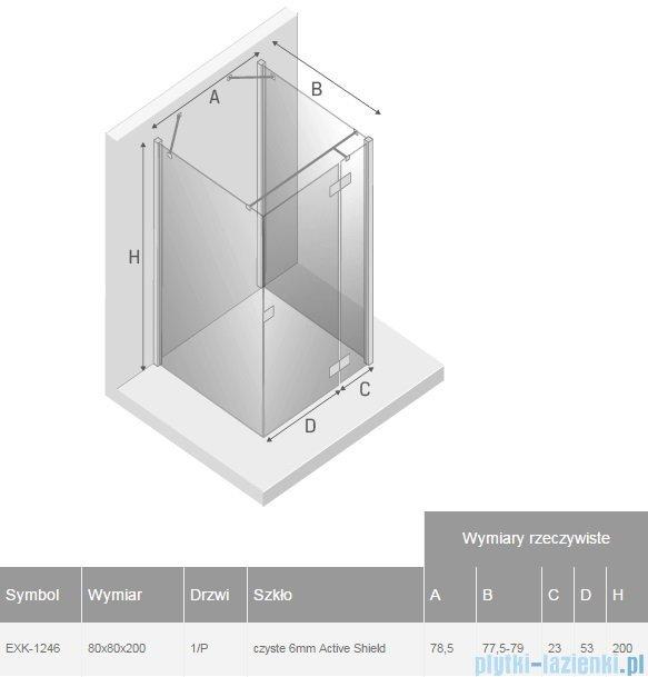 New Trendy Reflexa 80x80x200 cm kabina trójścienna prawa przejrzyste EXK-1246