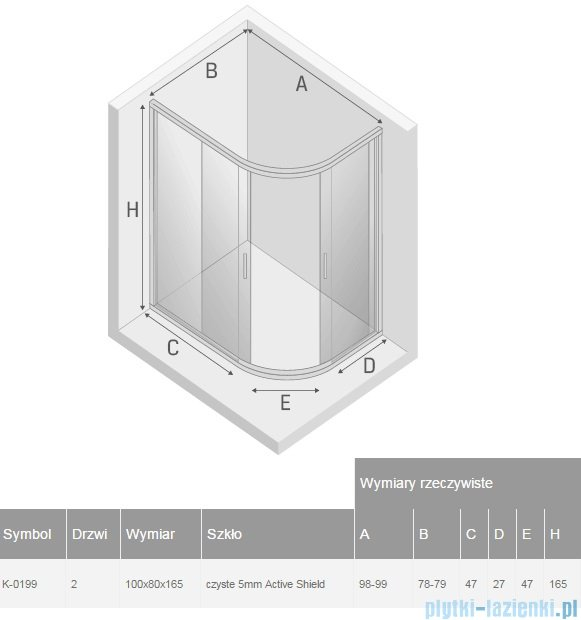 New Trendy Varia kabina asymetryczna 100x80x165cm przejrzyste K-0199