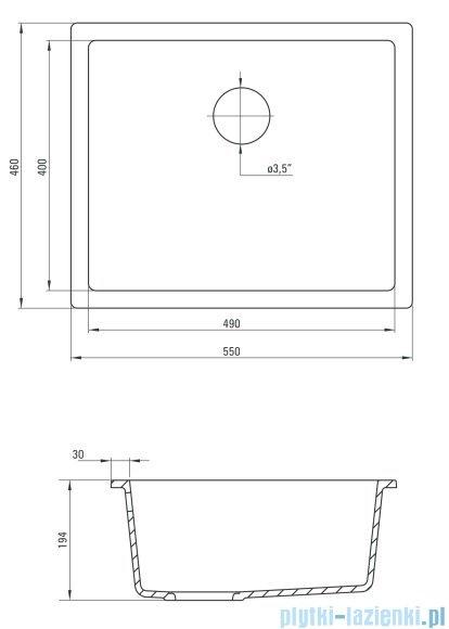 Deante Corda komora podblatowa 46x55 cm szary metalik ZQA S10C