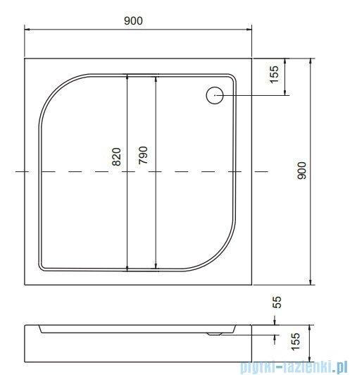 Sea Horse Sigma zestaw kabina natryskowa kwadratowa 90x90cm szkło A2+brodzik BKZ2/3/QB/A2/