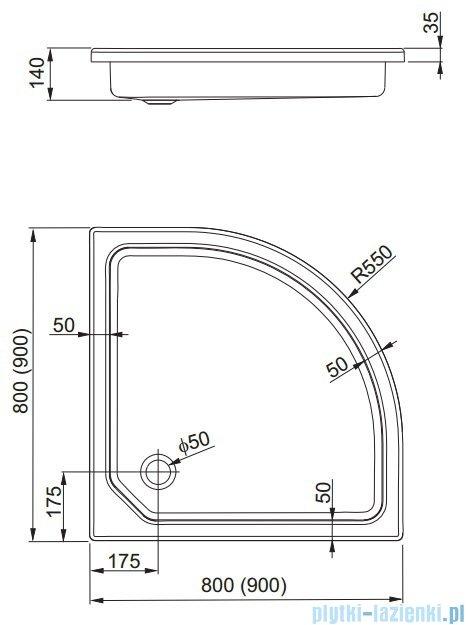 Aquaform Plus 550 obudowa 90x90cm do brodzika półokrągłego 33476