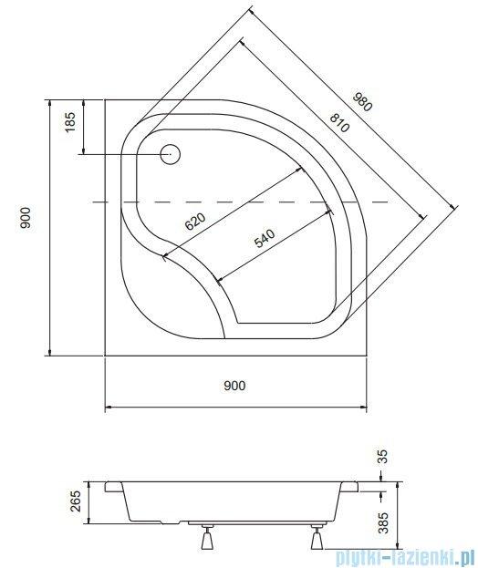 Sea Horse Sigma zestaw kabina natryskowa półokrągła - niska, 90x90 bluszcz + brodzik BKZ2/3/KA3/
