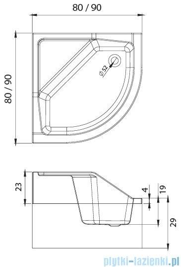 New Trendy Angus brodzik półokrągły z siedziskiem 80x80x29 cm B-0361
