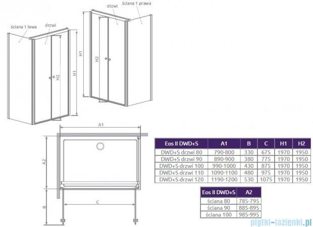 Radaway Eos II DWD+S Drzwi prysznicowe 80x197 szkło przejrzyste 3799490-01