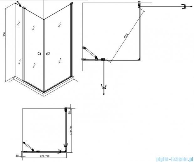 Alterna kabina kwadratowa 2-ścienna 80x80x195 cm przejrzysta ALTN-195215