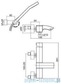 Paffoni Bateria wannowa z zestawem prysznicowym Level Cubo chrom LEC023CR