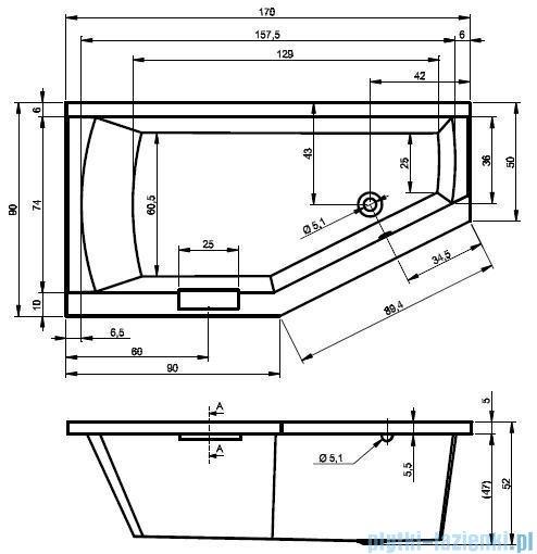 Riho Geta wanna asymetryczna 170x90cm prawa+nóżki BA88/09