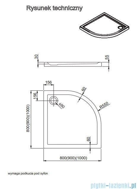 Aquaform Vico brodzik półokrągły superniski R550 90x90cm 200-08002