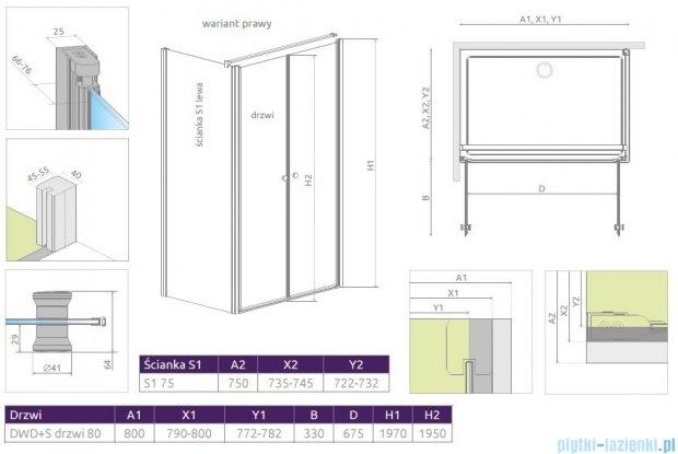 Radaway Eos II DWD+S kabina prysznicowa 80x75cm prawa szkło przejrzyste 3799490-01/3799409-01L