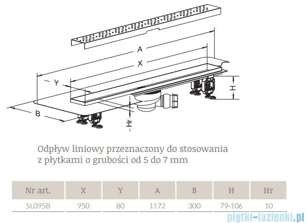 Radaway Quadro Odpływ liniowy 95x8cm 5L095B,5R095Q