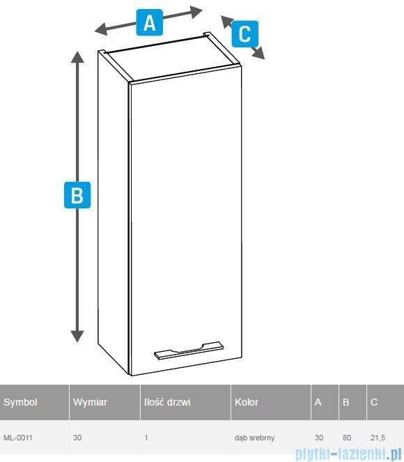 New Trendy szafka wisząca One 30cm dąb srebrny ML-0011