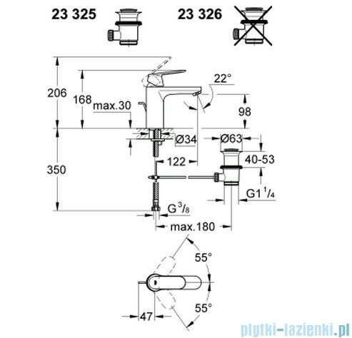 Grohe Eurosmart Cosmopolitan bateria umywalkowa DN 15 z korkiem 23325000