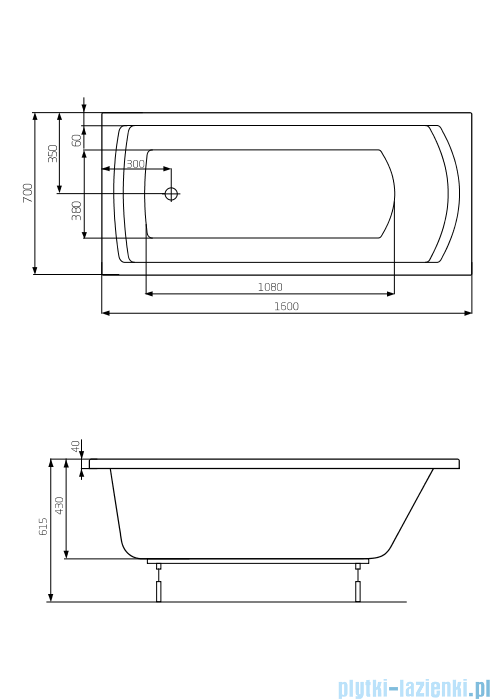 Roca Linea wanna 160x70cm z hydromasażem Smart WaterAir Plus A24T022000