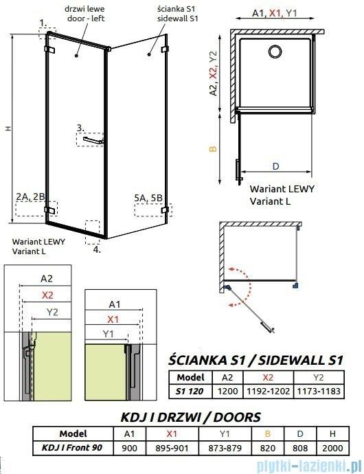 Radaway Arta Kdj I kabina 90x120cm lewa szkło przejrzyste 386082-03-01L/386024-03-01